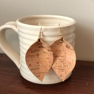 Cork and gold petal earring